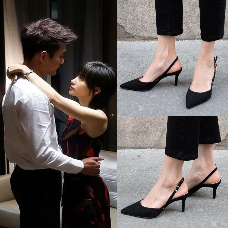 2019新款尖头后空黑色女高跟鞋法式网红少女后绊带细跟包头凉鞋夏