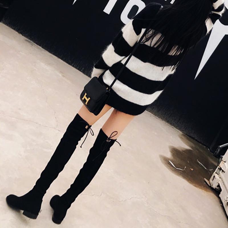 高跟粗跟过膝长靴女sw5050秋冬季加绒弹力小辣椒不掉筒高筒长筒靴
