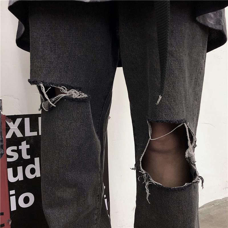 19韩国ins复古暗黑系高街韩版潮流破洞乞丐修身直筒牛仔裤 男女款