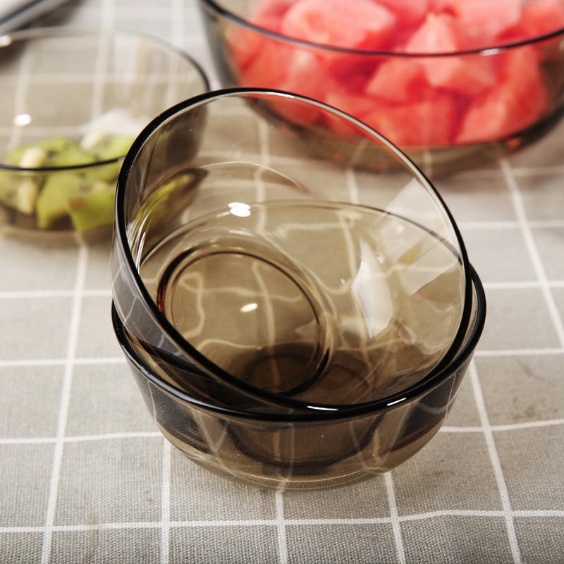 包邮家用无铅茶色玻璃沙拉甜品碗早餐吃饭水果汤碗盘耐热套装
