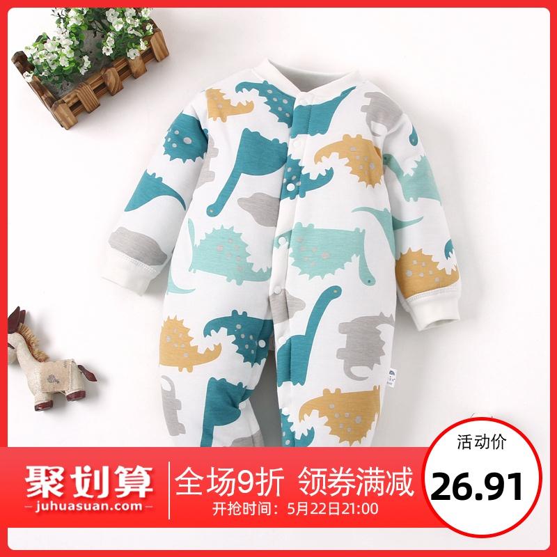 宝宝连体衣新生加棉保暖加厚棉衣服婴儿夹棉服秋冬季套装冬装哈衣图片