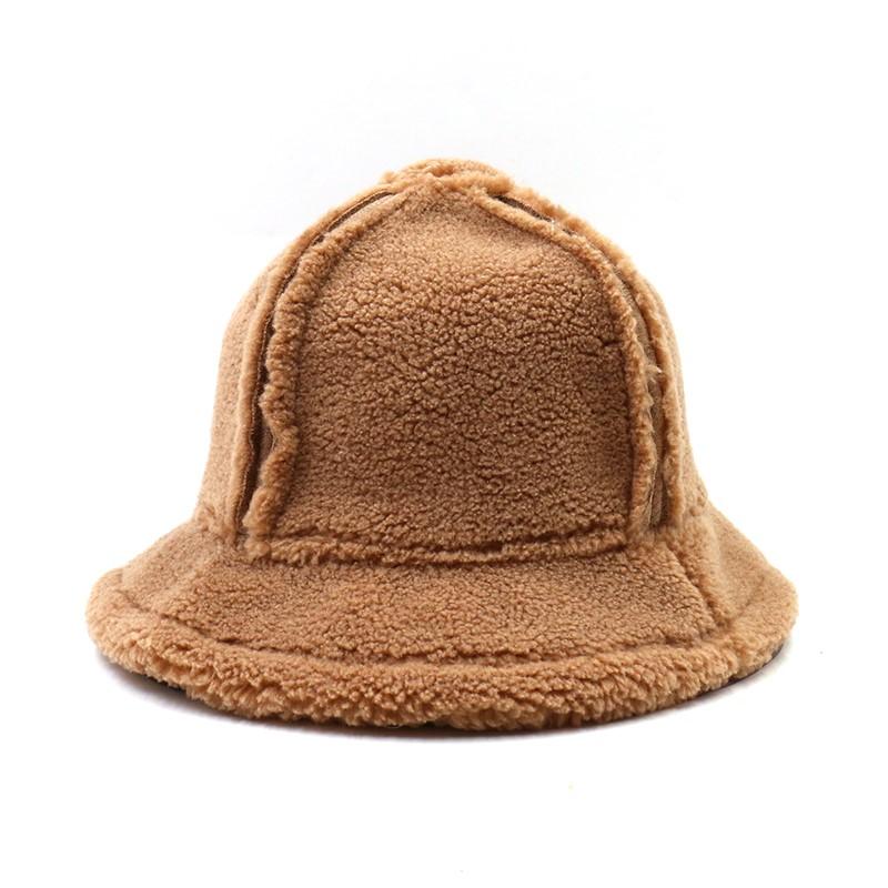 ziyi【保暖】韩版羊绒帽子女百搭渔夫帽加厚复古秋冬英伦短檐大码