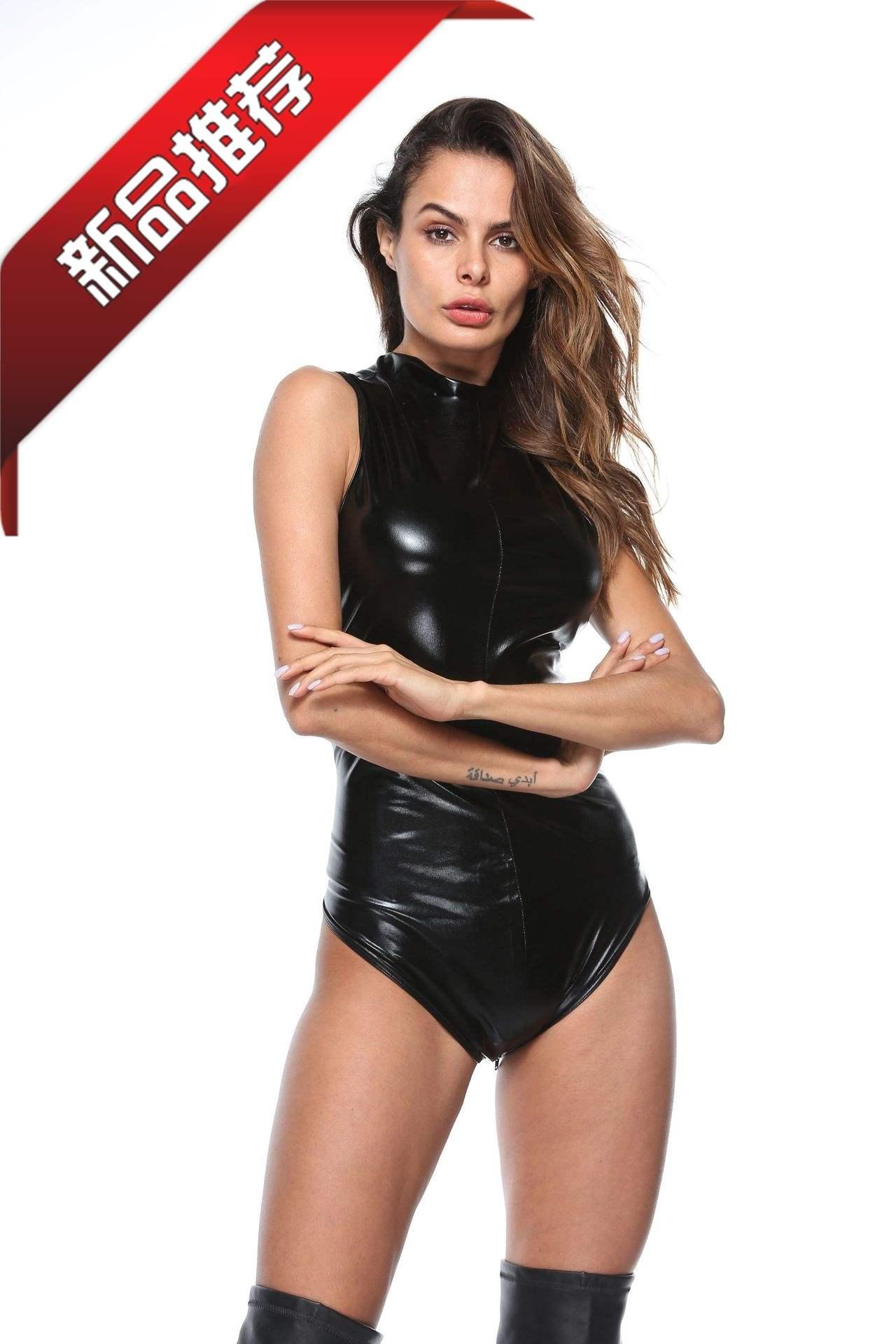 明るい皮のセクシーな5ヤードの制服のゲームは身を修めてコードの黒色の皮革の三角の連体の服の欧米を分けます