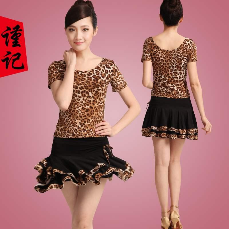 云裳恋衣广场舞服装新款套装短袖豹纹跳舞衣夏季拉丁舞女成人短裙
