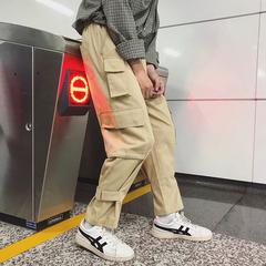 阿美咔叽宽松束脚裤多口袋工装裤休闲裤男ins款310B-1-KK82-P68