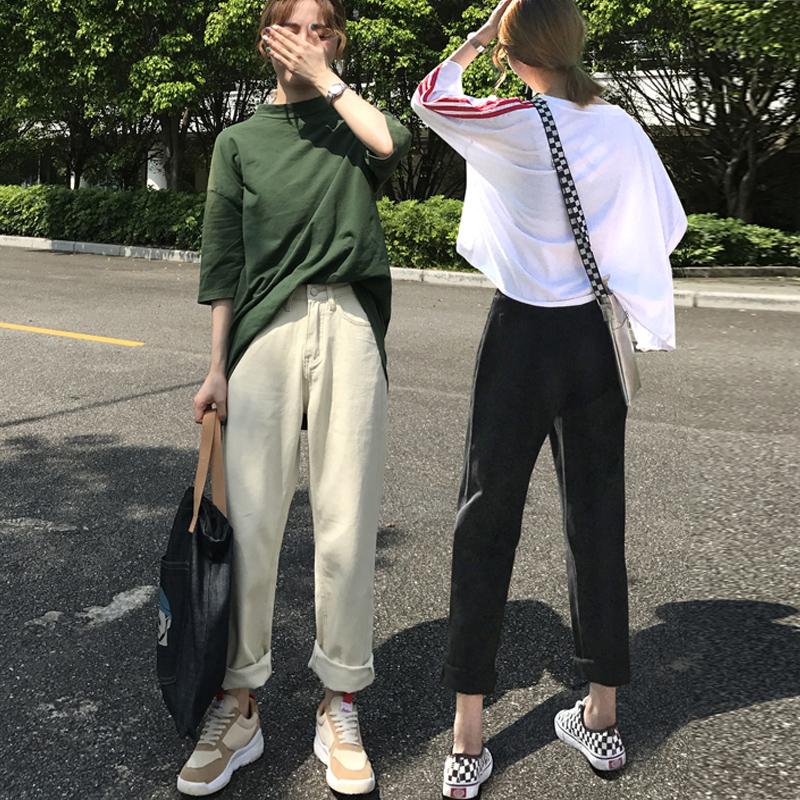 牛仔裤女网红2018新款韩版黑色宽松加绒杏色直筒裤子学生高腰百搭