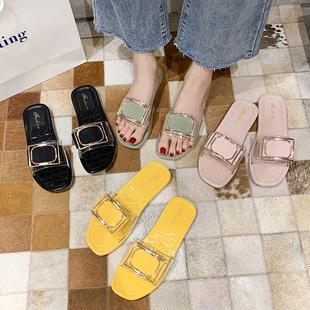 拖鞋女外穿夏天2020新款网红韩版时尚百搭ins潮可湿水懒人凉拖鞋