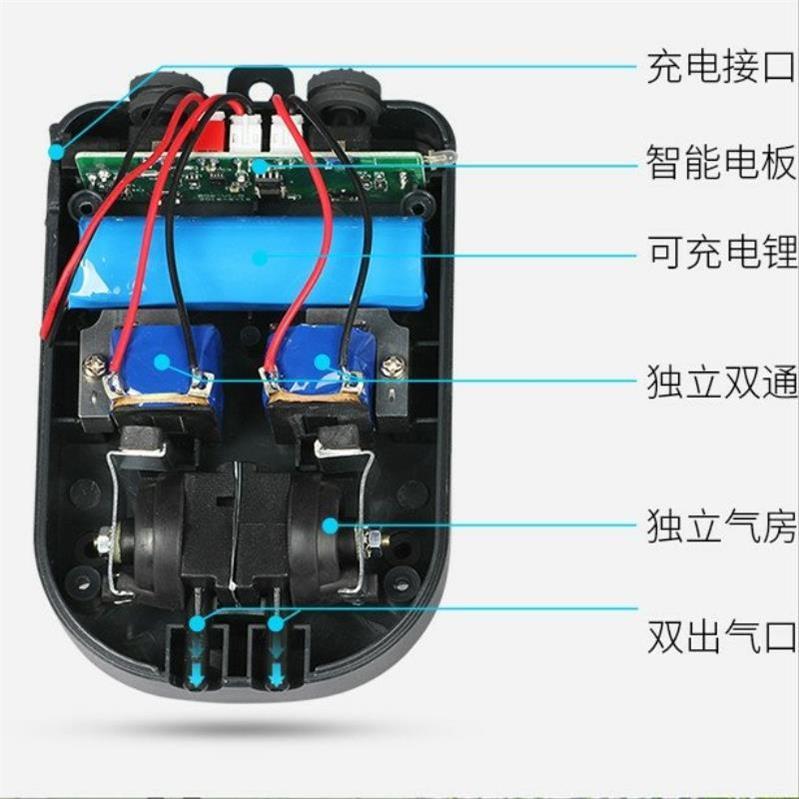 养鱼氧气泵增氧机锂电池可充电钓鱼两用。户外小型便携式超静音