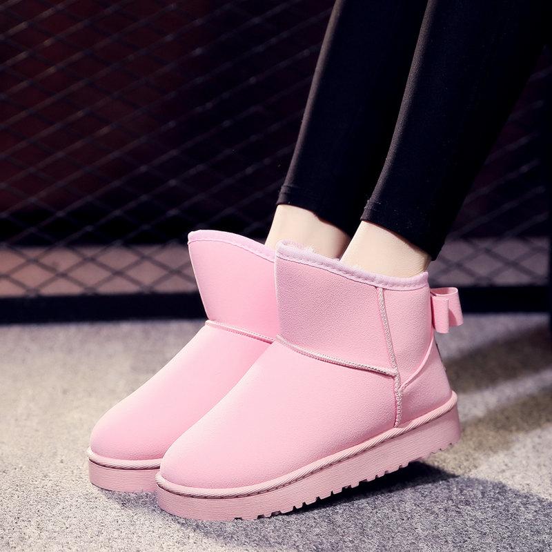 2018网红雪地靴女短筒加绒加厚冬季保暖短靴防滑可爱靴子学生棉鞋