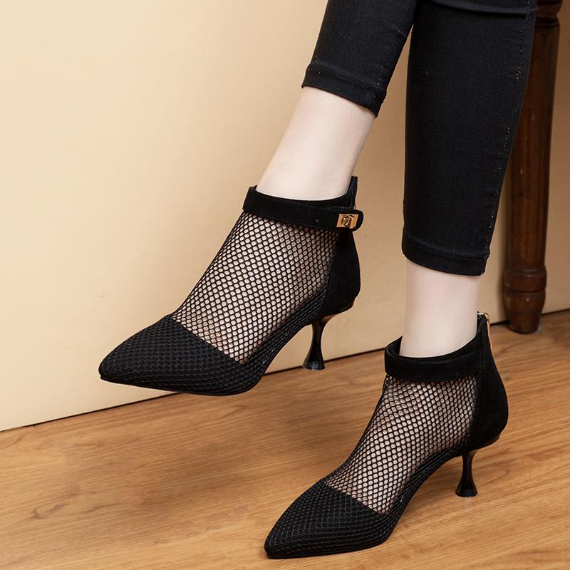 夏季凉鞋2020年夏款新款短靴镂空细跟网靴女中跟高跟凉靴尖头春秋图片