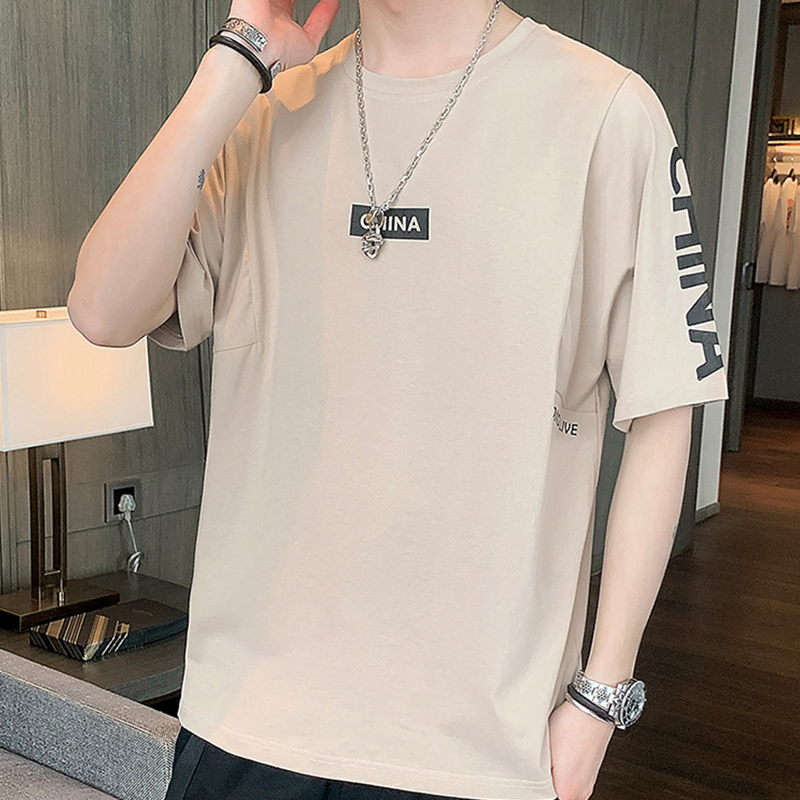 Aiisure printed short sleeve t-shirt mens T-shirt cotton youth fashion brand round neck short sleeve new trend in summer 2020