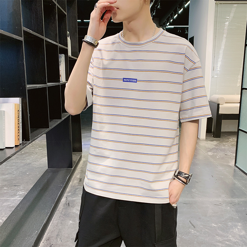 AIISURE短袖T恤男时尚潮流条纹舒适圆领柔软休闲t恤2020夏季新款