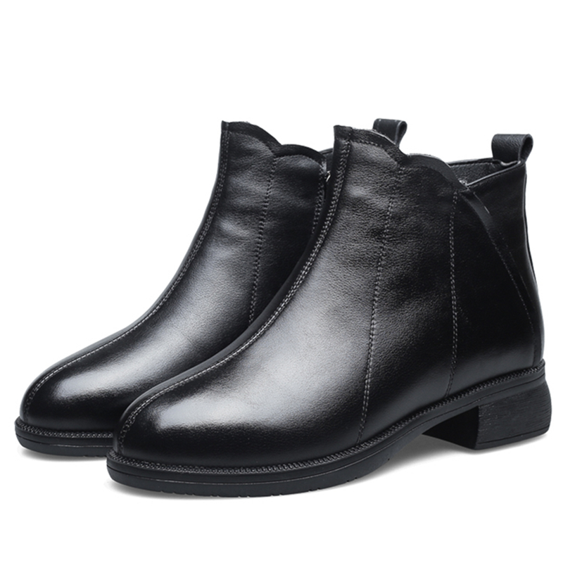 Autumn and winter fashion mothers leather short barrel Martin boots, half waist down warm, middle-aged womens cotton shoes, medium heel soft sole