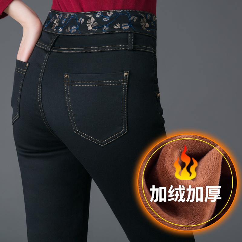 中年女裤高腰加绒加厚