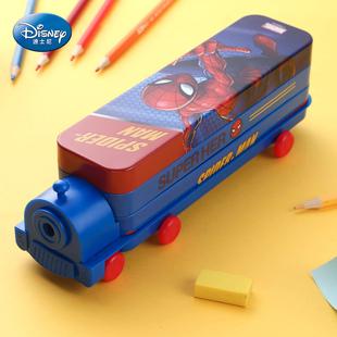 迪士尼文具盒男小学生女多功能铁笔盒小汽车巴士儿童铅笔袋幼儿园带笔削创意个性 大容量双层火车头铅笔盒