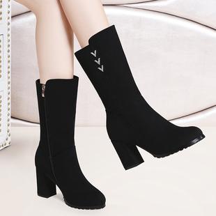 單靴高跟中筒靴女粗跟百搭中跟馬丁靴女厚底女靴子 2019秋冬季 新款