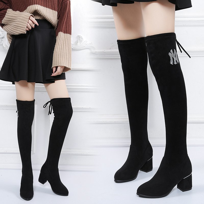 Over the knee boots 2020 winter thick heel versatile long boots show thin elastic boots thin boots Plush high tube female boots