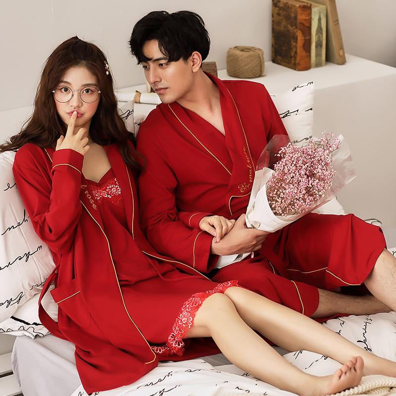 春秋款结婚睡衣新婚情侣套装高档婚用睡袍晨袍长袖纯棉新娘大红色