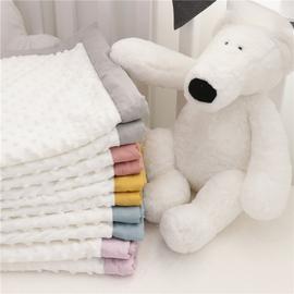 爱予宝贝婴儿童盖毯宝宝被子双层泡泡绒水晶绒豆豆毯亲子软空调被