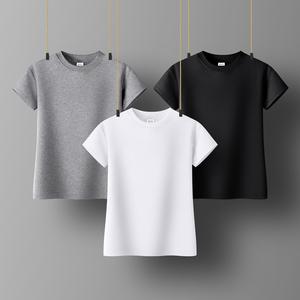 纯白色半高领短袖t恤女紧身打底衫