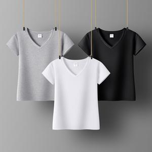 纯色v领t恤女式修身白色显瘦打底衫