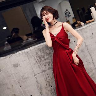 敬酒服新娘2021新款春季订婚礼服女红色连衣裙平时可穿小个子冬季