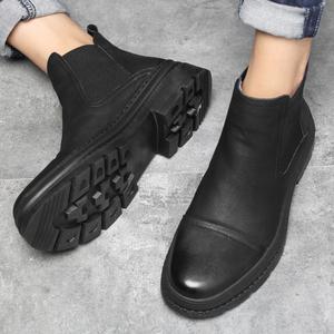 冬季短筒高绑皮鞋带绒加毛流行马丁靴高腰商务休闲鞋保暖走秀男鞋