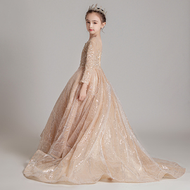 儿童拖尾公主裙蓬蓬纱女童高端主持人钢琴演奏礼服洋气演出服走秀