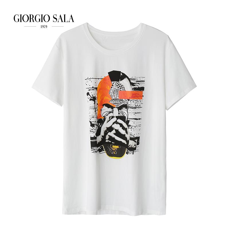 Short sleeve new personality trend half sleeve T-shirt loose youth print pattern versatile creativity