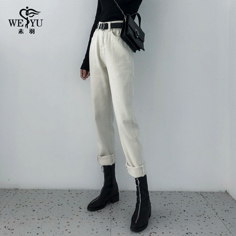 米白色直筒牛仔裤女2021年新款春季宽松chic高腰网红阔腿裤子潮