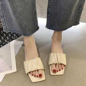 显脚小外穿方头女2021新款时尚拖鞋