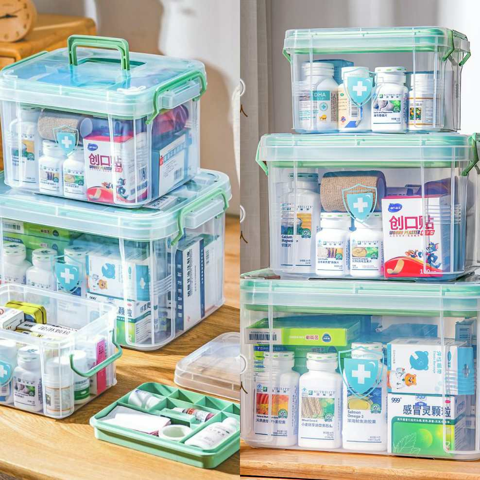 Full set of portable medicine lovely baby medicine box household large capacity box portable tabletop supplies