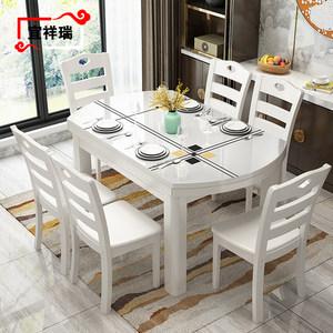 现代简约钢化玻璃实木餐桌椅组合白色可伸缩折叠可拉伸大理石圆桌