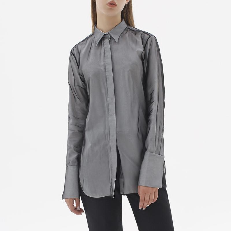 Ports 1961 womens Silk Long Sleeve solid square collar shirt pw416hls31-fseu078