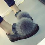 韩版潮秋款女鞋新款狐狸毛毛毛鞋平底豆豆鞋休闲加绒加厚棉瓢鞋冬