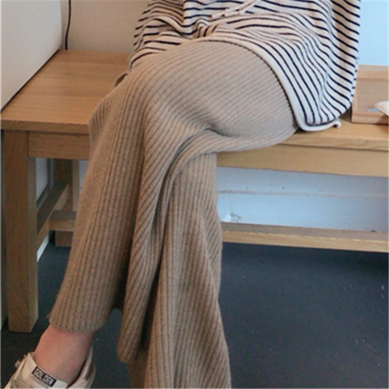 Autumn and winter down feeling wool knitted wide leg pants womens leisure high waist loose and thickened trousers wear cashmere wool pants