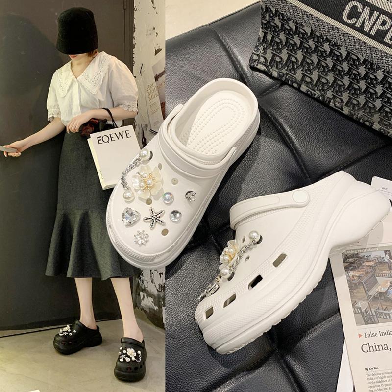 洞洞鞋女外穿时尚2021夏新款水钻珍珠链条增高厚底防滑沙滩凉拖鞋