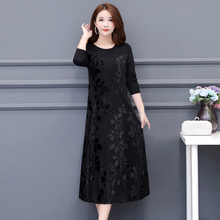 New large women's dress in autumn and winter 2019: fat mm, foreign style, lady's bottomed dress, knee length, plush and thickened