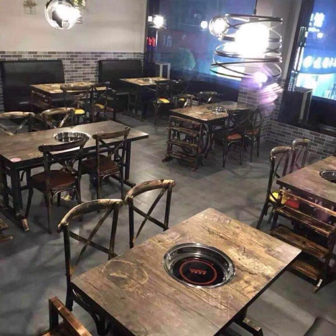 餐饮店餐桌商用煤气灶火锅桌子电磁炉一体火锅店烤肉烧烤桌椅组合