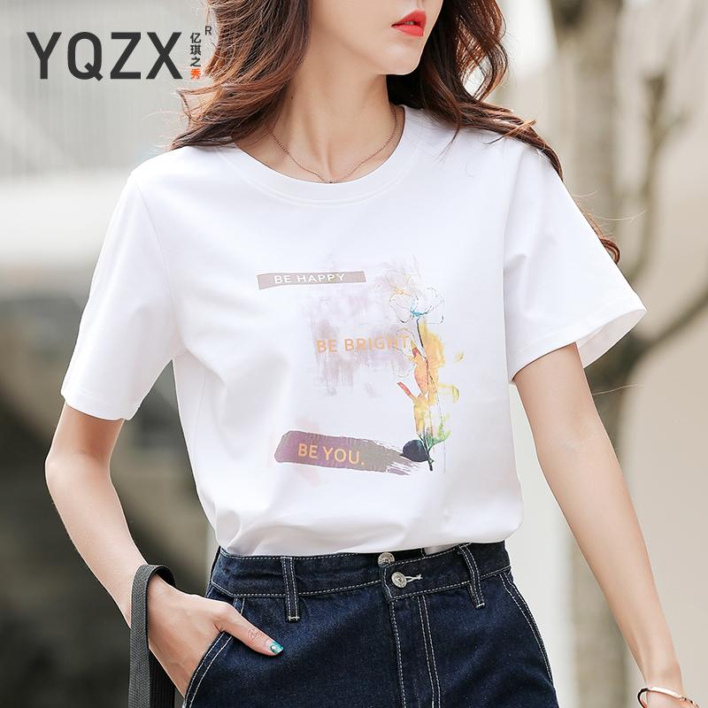 2021年夏季新款白色女短袖冰棉t恤