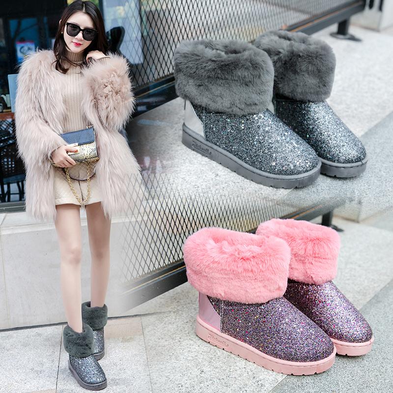 2018冬新款韩版潮加绒加厚短靴子短筒亮片女鞋平底百搭棉鞋雪地靴