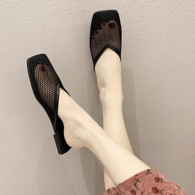 包头拖鞋女夏平底时尚外穿韩版简约防滑懒人凉拖镂空透气网纱女鞋