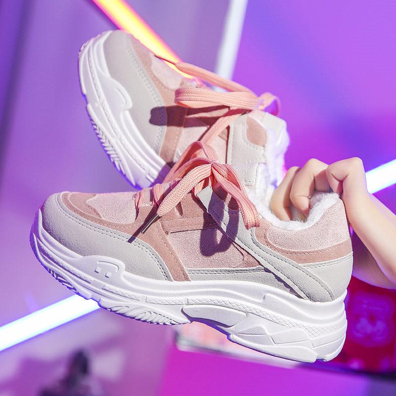 棉鞋女冬2018韩版新款ins加绒运动鞋秋冬网红女鞋学生百搭老爹鞋