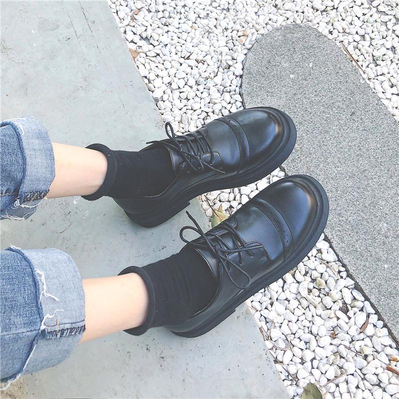jk黑色小皮鞋女英伦风夏天韩版百搭单鞋日系学生鞋子2019新款潮鞋