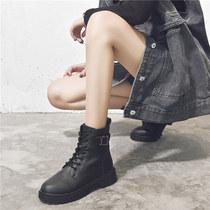 新款秋季粗跟靴子秋款百搭高跟袜靴小短靴春秋单靴秋2019马丁靴女