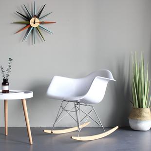 实木现代极简约休闲懒人躺椅伊姆斯塑料宿舍榻榻米北欧卧室摇椅子