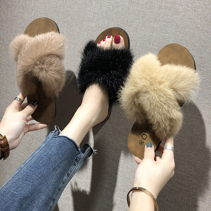 毛毛拖鞋女外穿2020新款兔毛ins潮鞋春季家用兔毛棉拖鞋子秋夏季图片