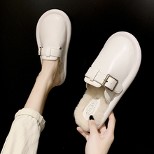 毛毛拖鞋女外穿2021新款包头搭扣潮鞋网红家居家用棉拖鞋子秋冬季