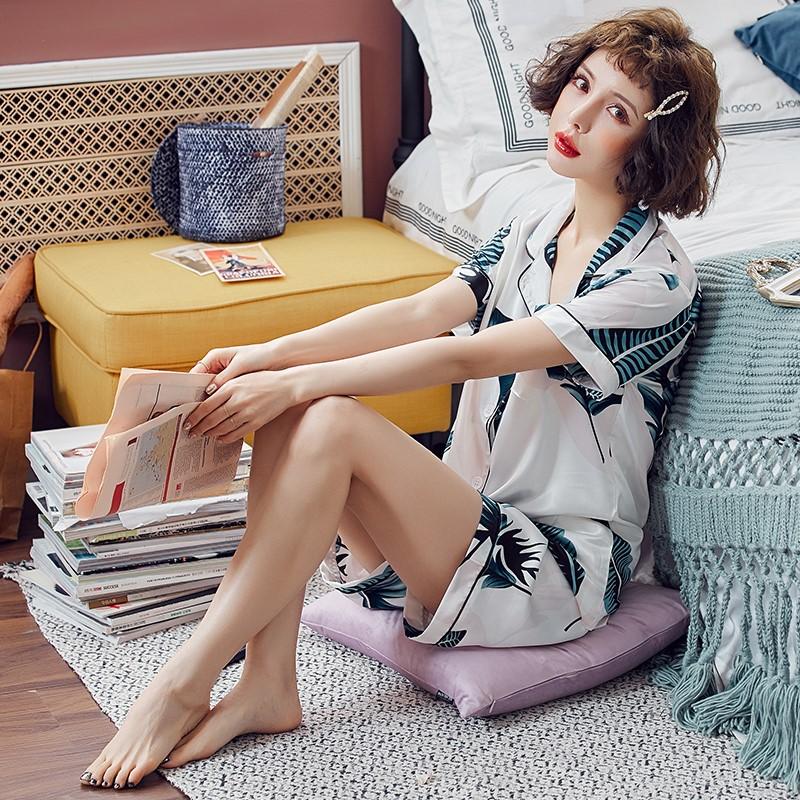 夏短袖丝绸性感夏天女人两件套睡衣限50000张券