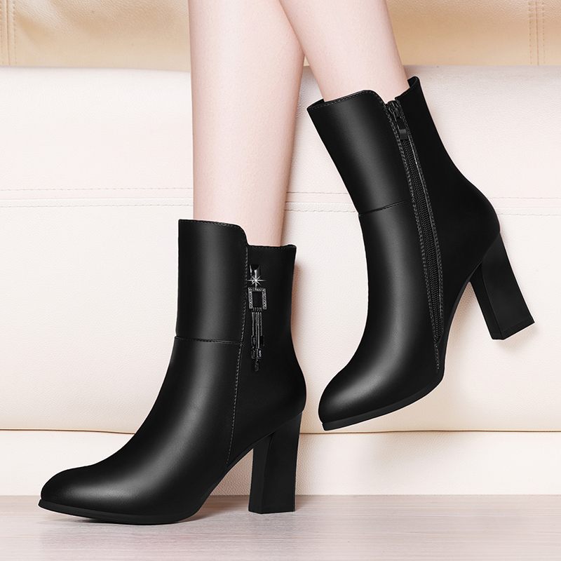Boots childrens middle boots autumn Martin boots 2020 new thin boots high heeled versatile winter thick heeled leather boots women